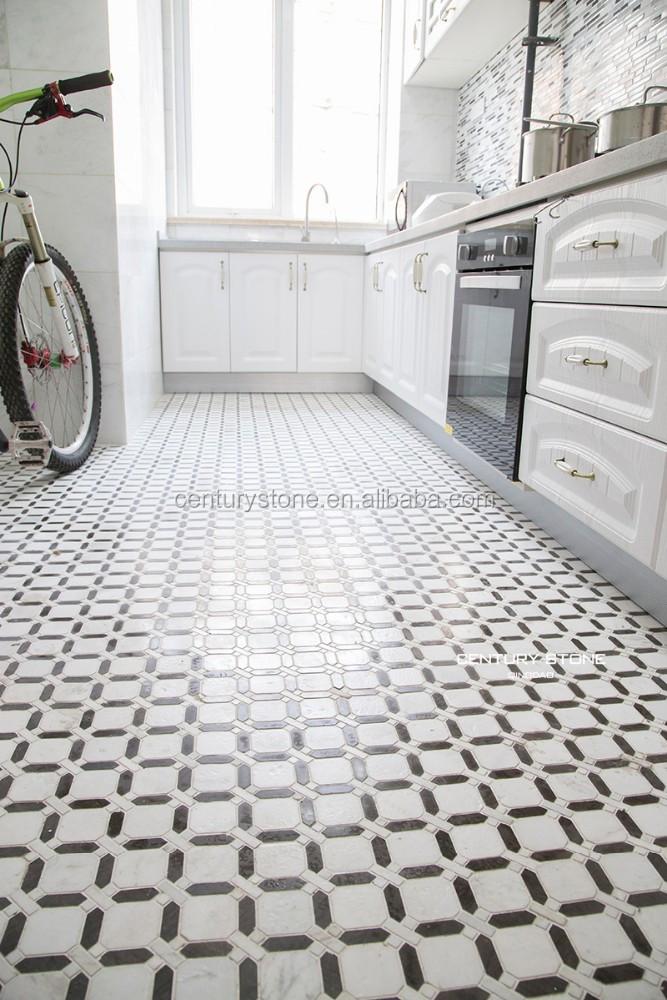 Keuken kamer mozaïeken ontwerp marmeren tegels gepolijst zwart en ...