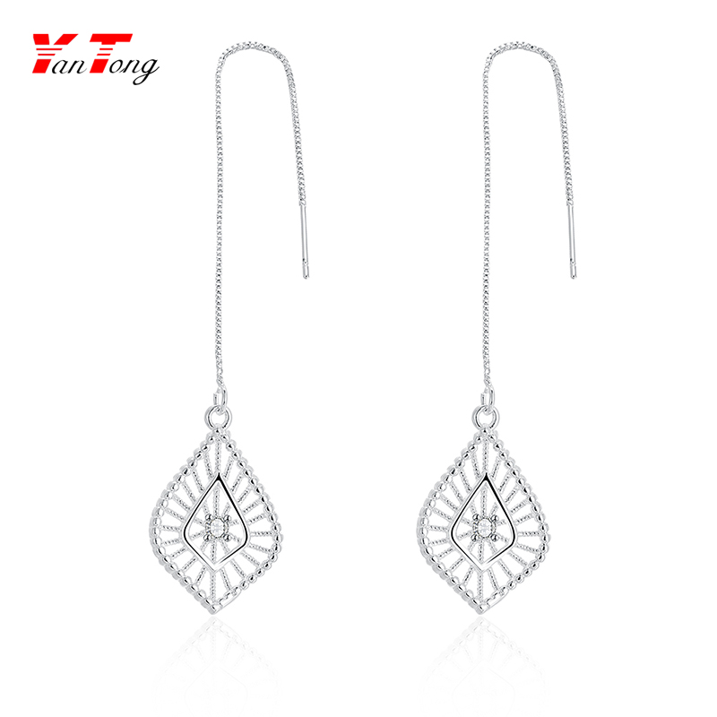 Simple but Elegant Cz Stone Chandelier Drop Spinder Web Long Chain Hook Earrings