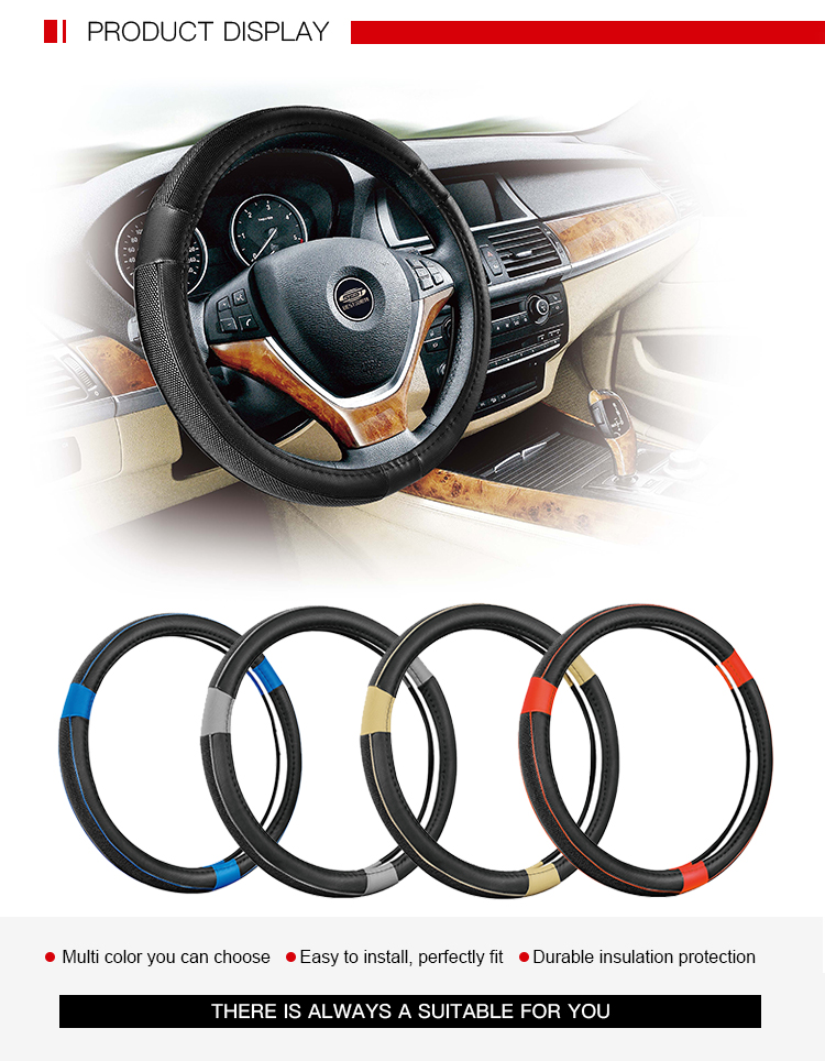 Newly Promotion Black Steering Wheel Cover Leather