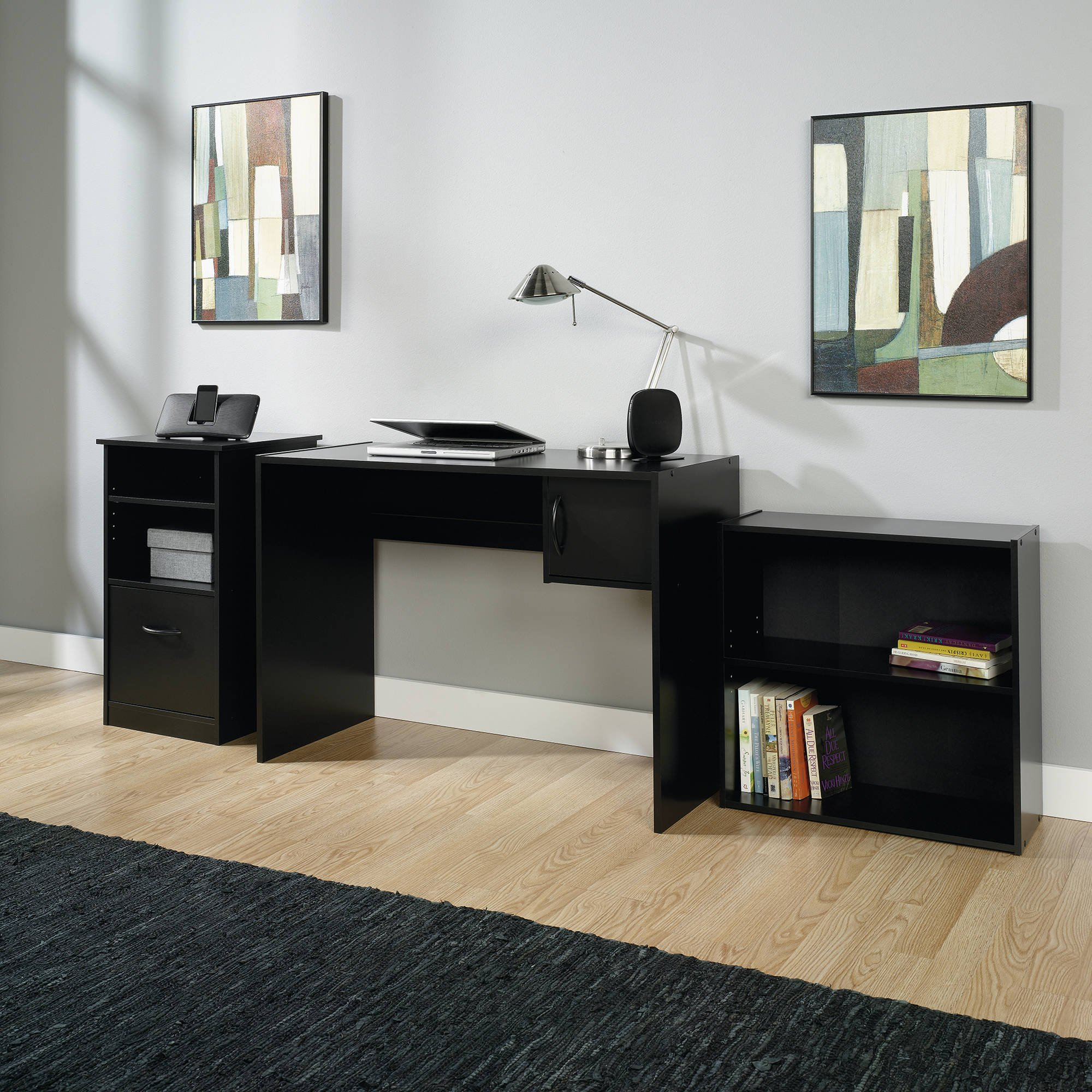 3-Piece Executive Furniture Office Set, Matching Bookcase, Desk and Cabinet with an Elegant Black Finish, Classic Workstation Design Perfect for Organizing Tasks and Projects, For Home or Office use