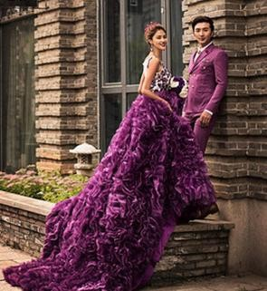 Z75969A ELEGANT European Purple Big tail Classical floral Women's Wedding Dress