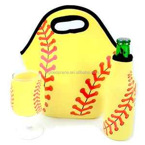 Neoprene Lunch Bag Insulated Baseball and softball Lunch Tote Bag Set