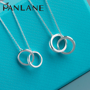 European and American style 925 silver fashion double ring pendant clavicle chain 1837 digital series series female