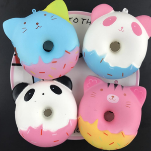 Wholesale Colorful Soft cat donuts Food Squishies slow rising Toy Used For Keychain