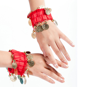 Belly Dance Gold Coins Halloween Costume Party Accessories Set of 2 (1 Pair) Wrist Arm Anklet Bracelets