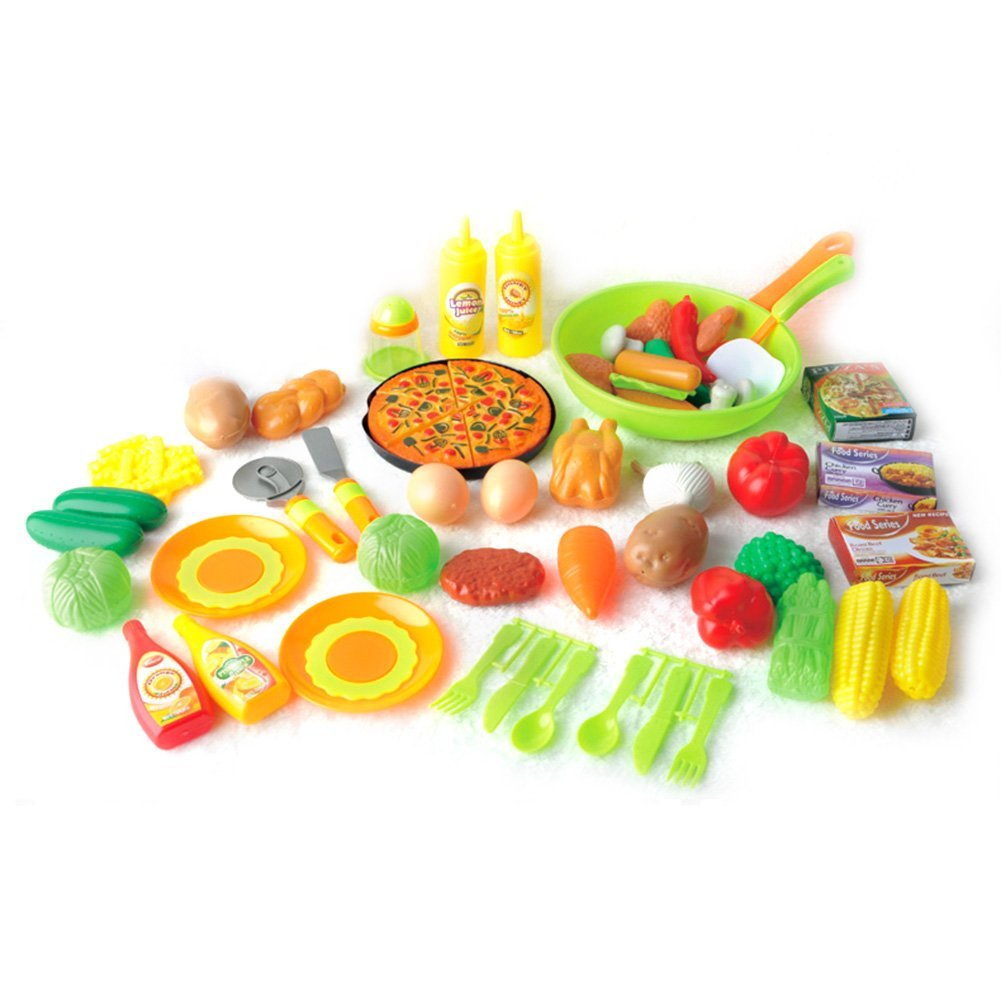 Aspire Pizza Food Playset Vegetable Play Flatware, Pretend and Play Toy Set, Party Gift For Children