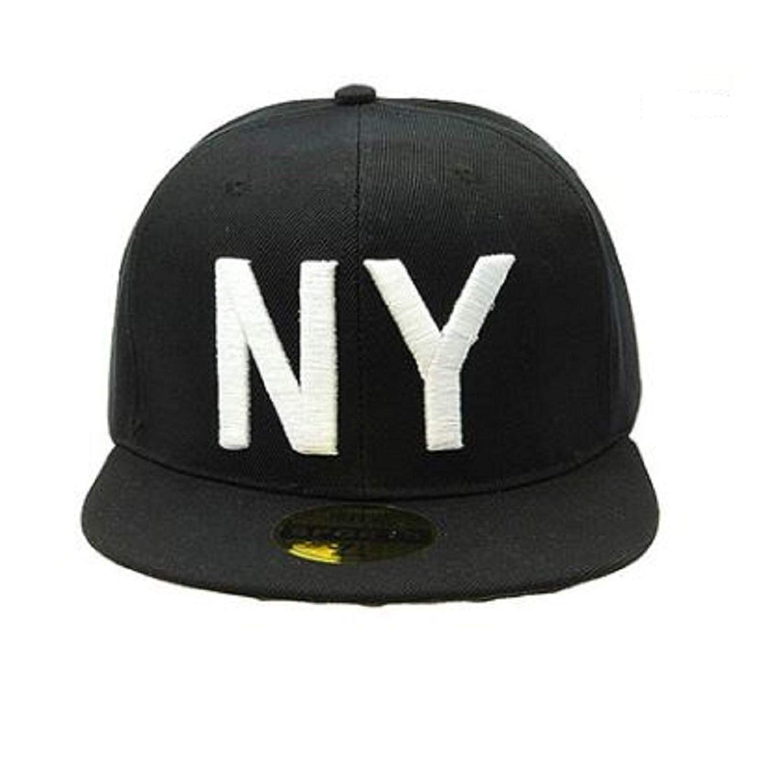 ce979b7c74d Get Quotations · RI001 Black Snapback Cap with White Stitched  NY  Design  Front and Rainbow  Brooklyn