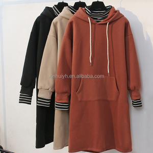 Women'S Hip Hop Wholesale Thick Fleece Custom Long Cut Hoodies With Striped Cuff And Neck