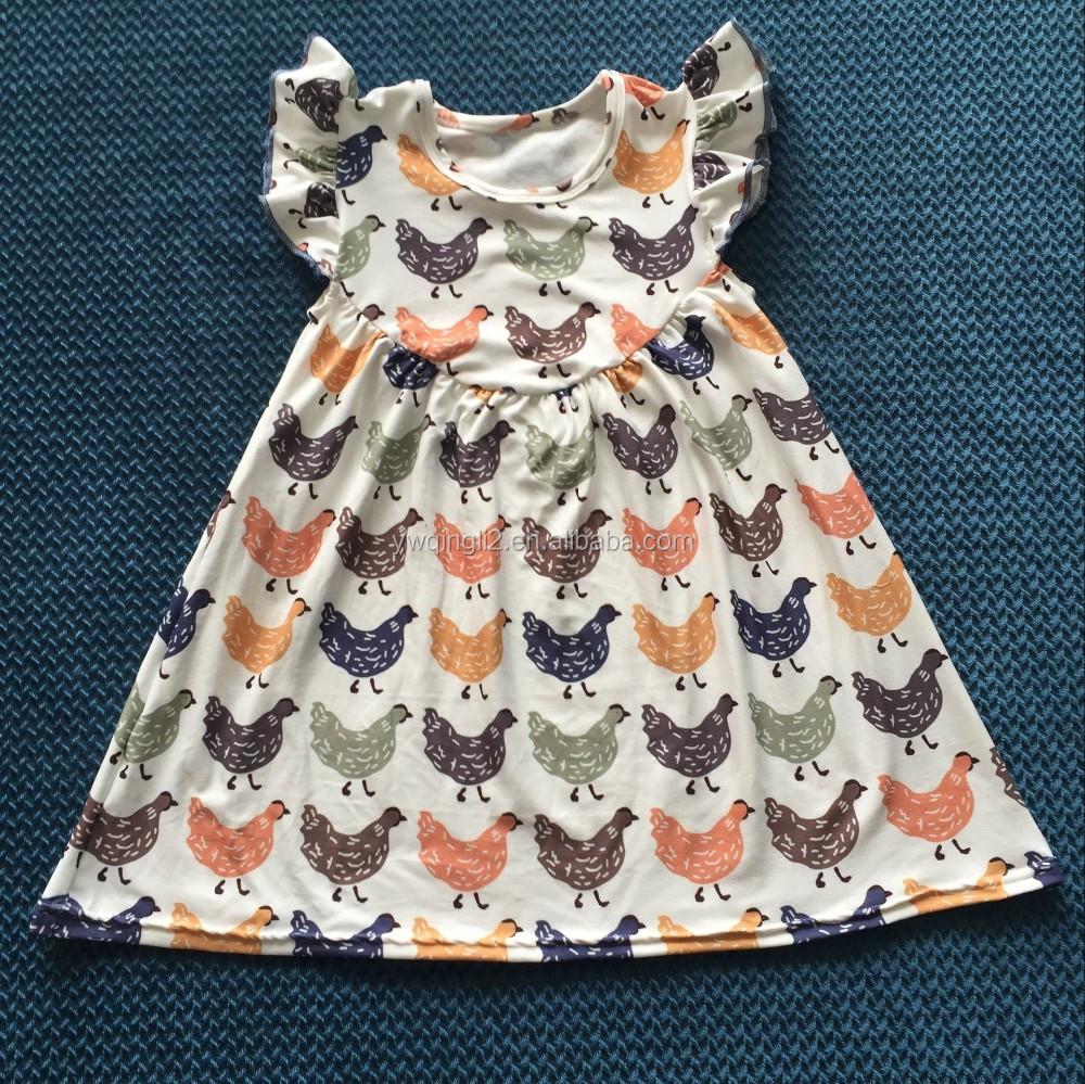 Xf 387 Adorable Girls Chicken Baby Dress Cutting Flutter