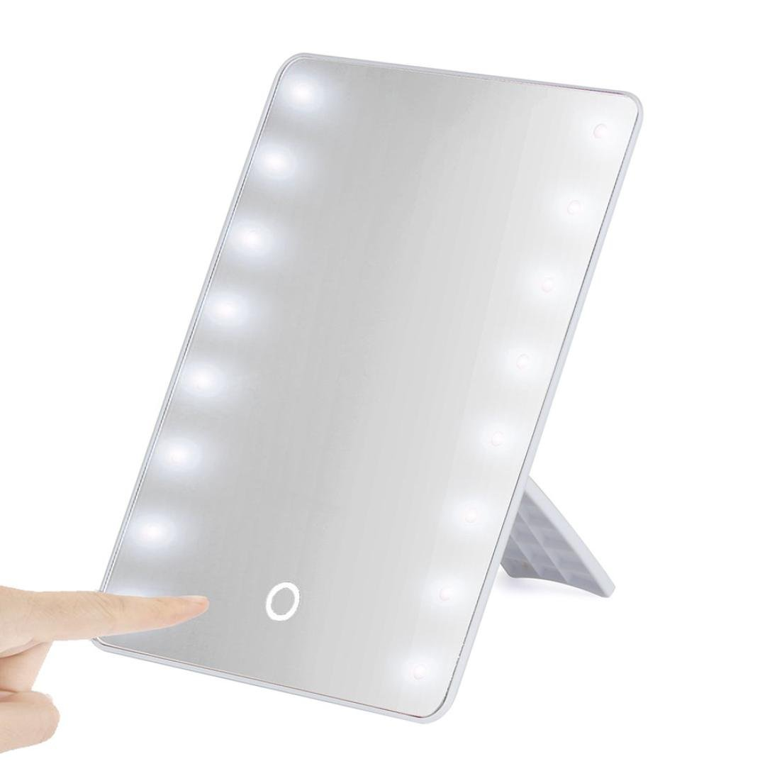 Cosmetic Vanity Mirror ,Tuscom@ Portable 16 LEDs Lighted Touch Screen Makeup