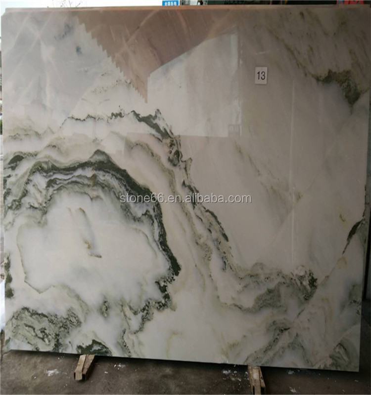 Beautiful landscape painting onyx marble slab MINGDIAN marble stand for statue