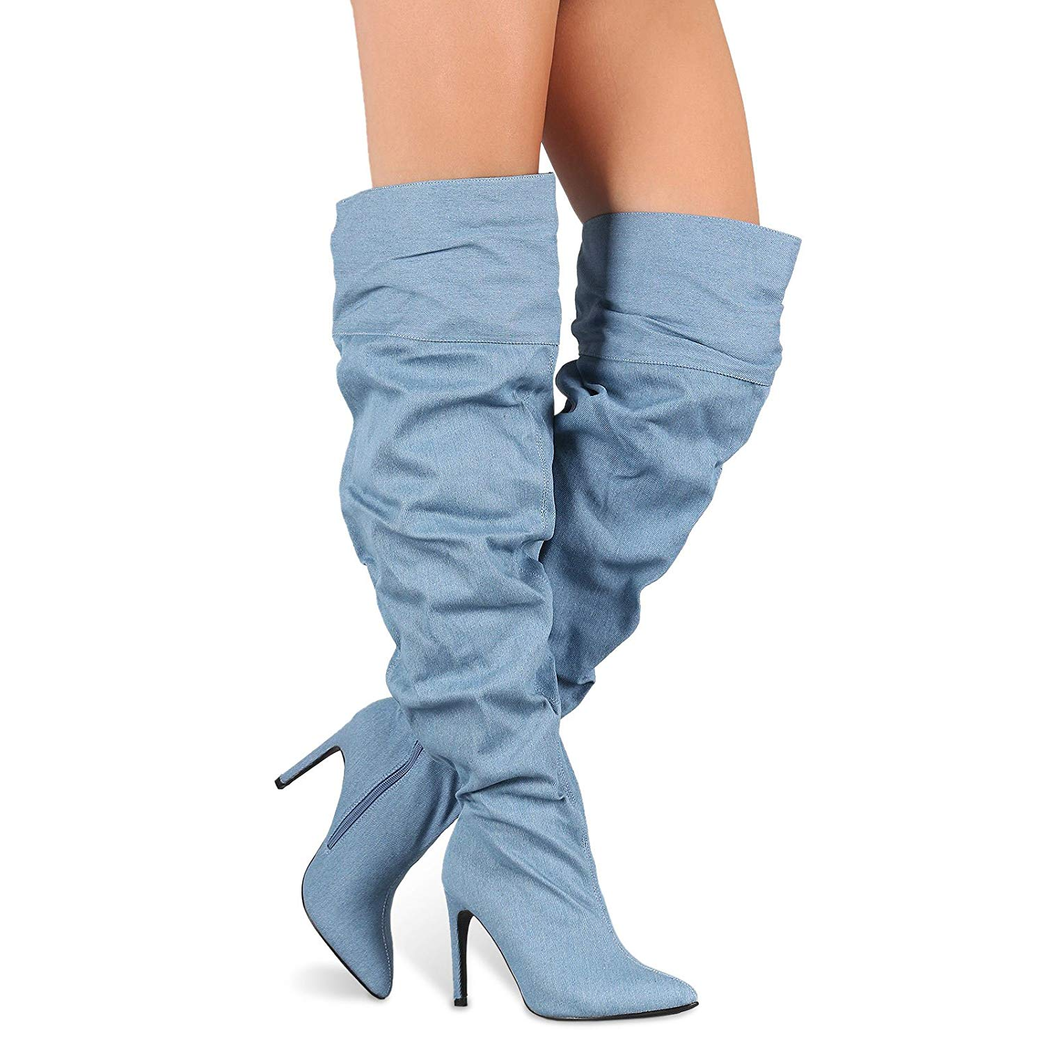 509de8c02 Get Quotations · Thigh High Over Knee Slouchy Oversized Pointy Toe High  Heel Boots