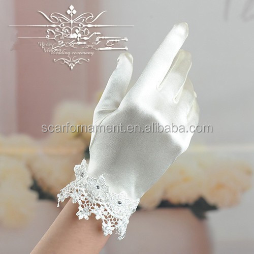 Top Design Regal Wedding Gloves High Quality Satin Embroidered Lace Stretch Wrist Bridal Glove