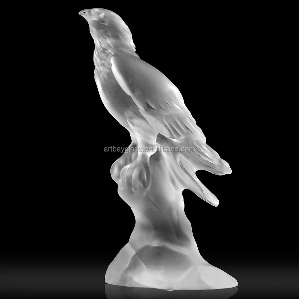 ARTBAY new product casting crystal glass liuli white eagle sculpture for home decor