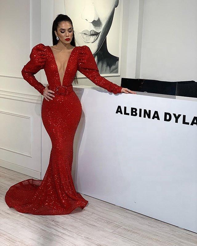 20ed55733d0df Glitter Mermaid Kadın Abiye 2019 Uzun Fener Kollu Dalma V Boyun Seksi Balo  Abiye Bayanlar Parti