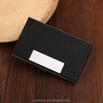 Shenzhen dahua stainless steel black leather magnetic business card shenzhen dahua stainless steel black leather magnetic business card holder with low price colourmoves