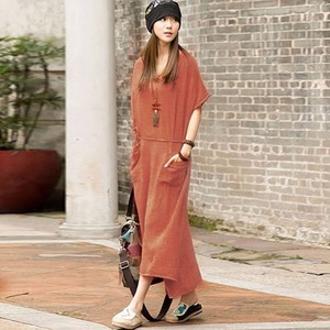 Oversized Summer Women Retro Casual Loose Long Dress Cotton Linen Solid Short Sleeve Ankle Length Dress Plus Size