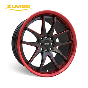 "Zumbo-S0048 Black milled+lip machined/red 17"" Italian Style car refit custom alloy wheel rim Hot Sale Black Alloy Wheel In India"