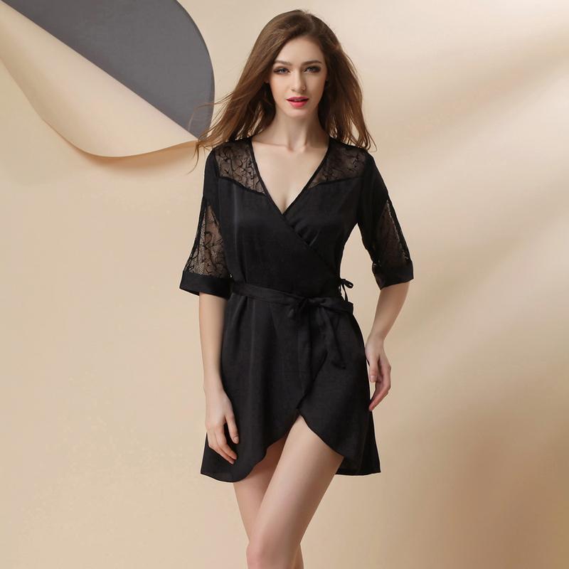 robes l gantes robe de chambre longue satin. Black Bedroom Furniture Sets. Home Design Ideas