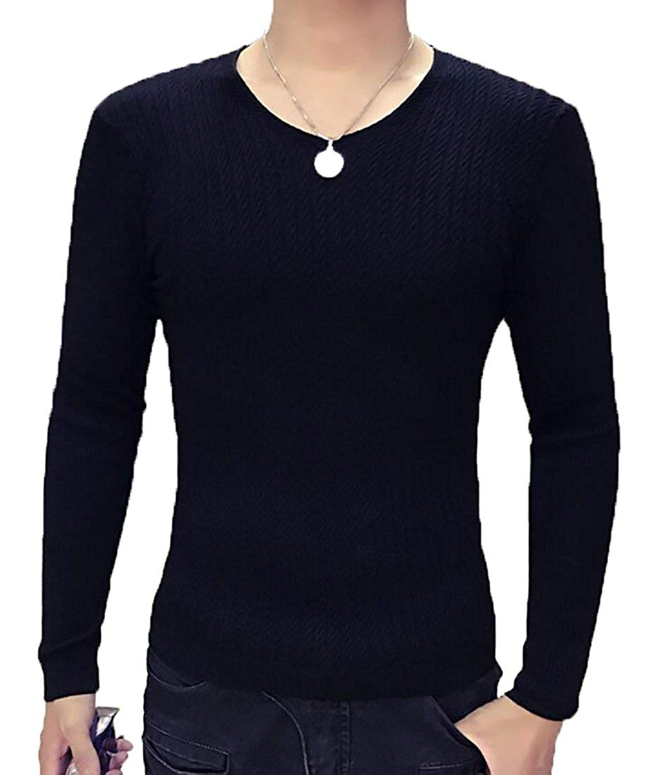 UUYUK-Men Casual V-Neck Solid Slim Fit Knit Pullover Sweater