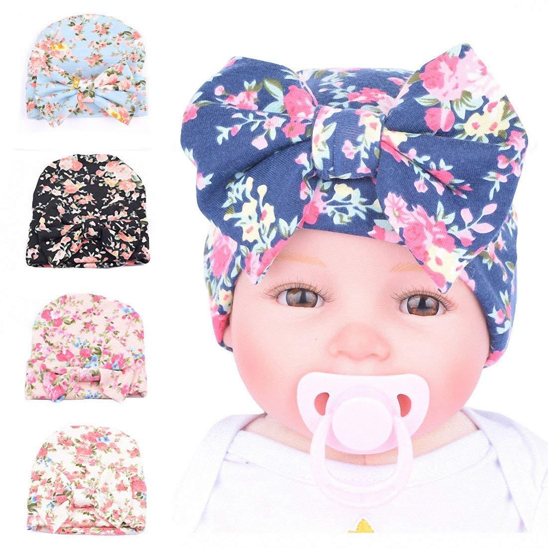 papala 5 Pcs Printed Newborn Baby Girls Nursery Beanie Hospital Hat With Big Bow