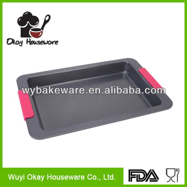 Carbon steel Non-stick / Ceramic coating Square Cake Pan W/ Silicone Handle BK-D5007