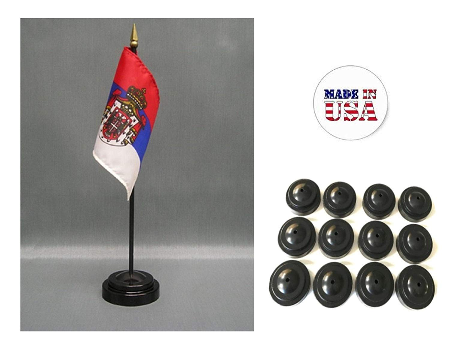 """Made in the USA!! Box of 12 Serbia with Seal 4""""x6"""" Miniature Desk & Table Flags Includes 12 Flag Stands & 12 Serbian Small Mini Stick Flags"""