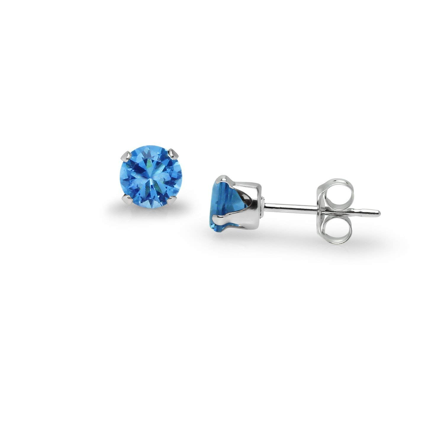 CZ Multi Colored Stud Earrings Sterling Silver Choice Of Twelve Pairs Of Glass or Birth Stones