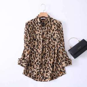 New Design Leopard Print silk top pure silk blouse silk blouse clothes For Women