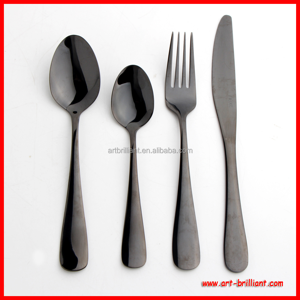 black metal cutlery stainless steel pvd plated handle kitchen cutlery set