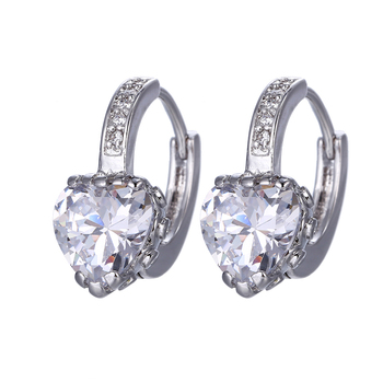 94583 Xuping Clear Crystal Heart New Latest Gold Earring Designs Names Of Styles