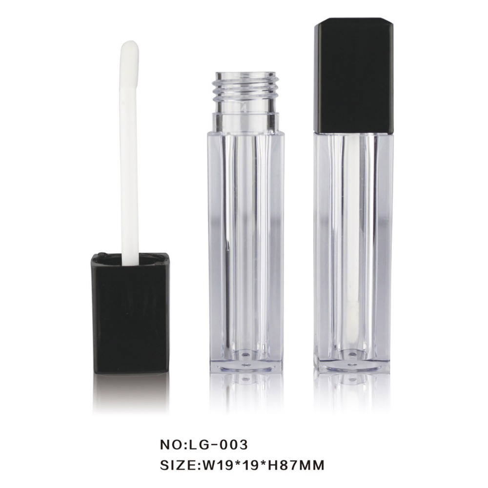 Lipgloss Tube Bottle Case Cosmetic Empty Brush 5ml Plastic Square Lip Gloss Packaging Container with Matte Black Lid