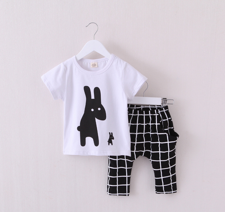 YE7004 kids suit summer 2016 cartoon two-piece suit t-shirt+ pants with short sleeves
