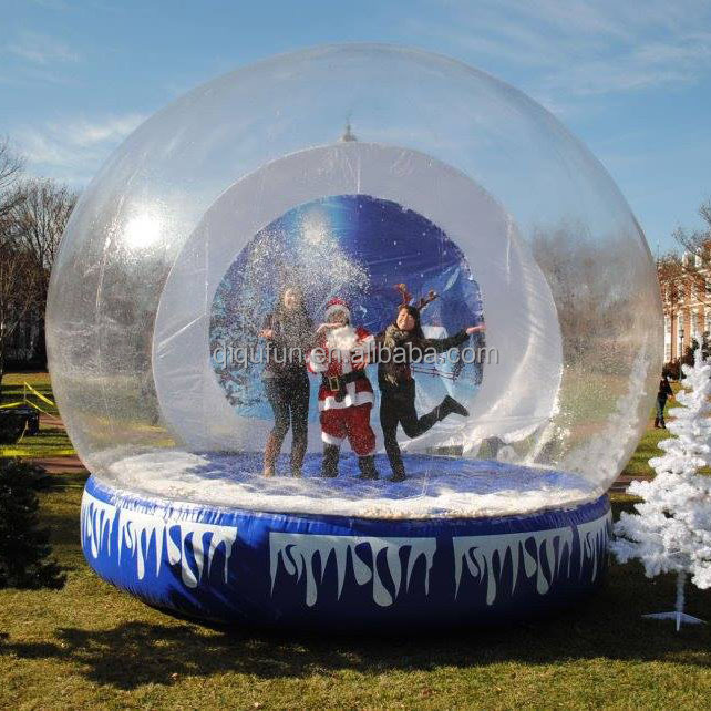 Xmas gifts inflatable snow globe ball, Christmas snow balloon, human size bubble ball with custom