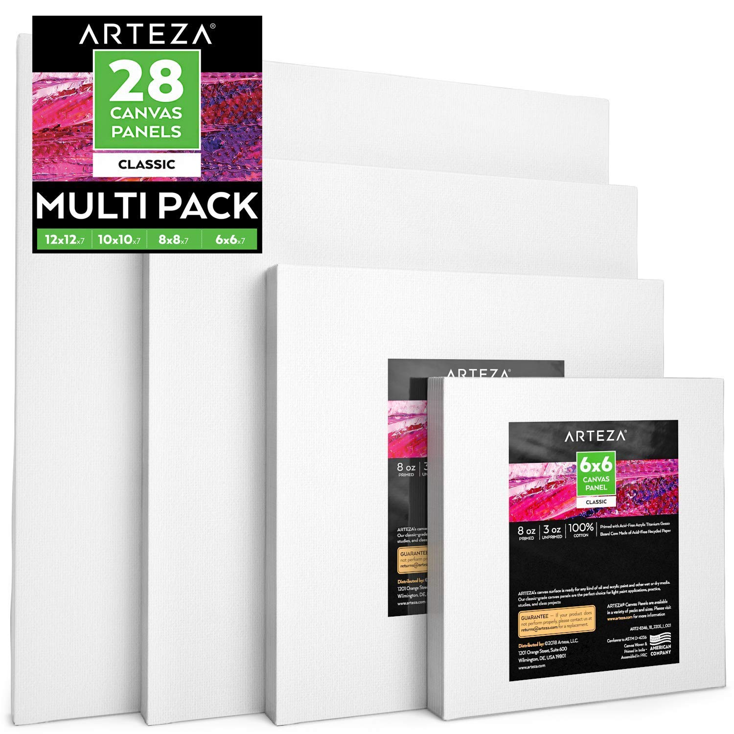 """Arteza Painting Canvas Panels Multi Pack, 6x6"""", 8x8"""", 10x10"""", 12x12"""" Set of 28, Primed White, 100% Cotton with Recycled Board Core, for Acrylic, Oil, Other Wet or Dry Art Media, for Artists"""