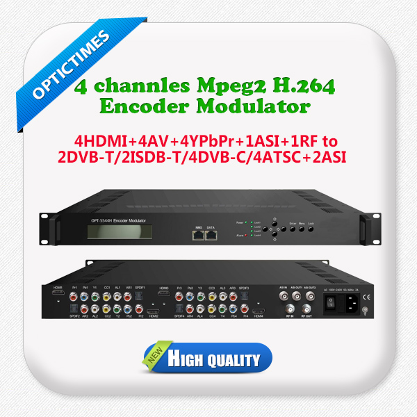 Low latency cost effective digital cable tv 4 channels mpeg2/ h.264 hd hdmi to coax cable rf qam encoder modulator