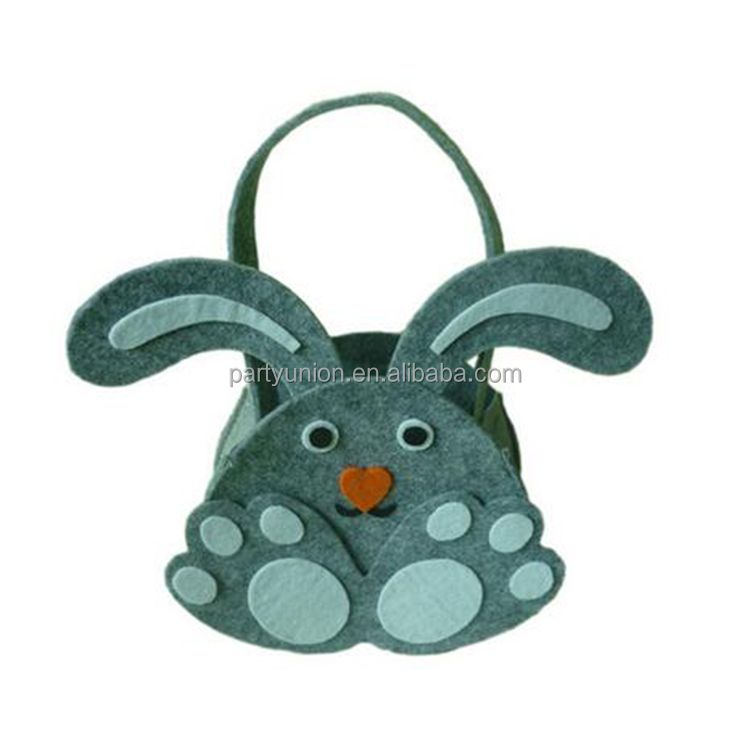 New Easter Cute Gray Rabbit Ear Gift Candy Bag Easter Baskets For Kids Gifts Festival New Year Craft Supplies Decoration