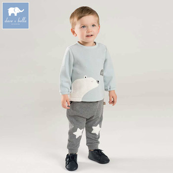DBW8566 dave bella autumn baby boys long sleeve clothing sets infant toddler top+pants 2 pcs outfits children high quality suits
