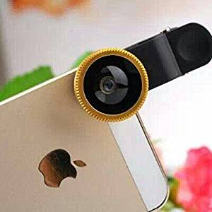 Golden Universal 3 in 1 Fisheye-Lens + Wide Angle + Macro Lens Clip Camera Photo Kit For Smart Phones (Including Iphone, Samsung Galaxy, Htc, Motorola and More), Tablets, Ipad, and Laptops+ One Microfiber Carrying Bag (LQ-001-H01)
