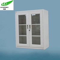 Half height metal/steel glass door storage 2 swing glass door mini cupboard