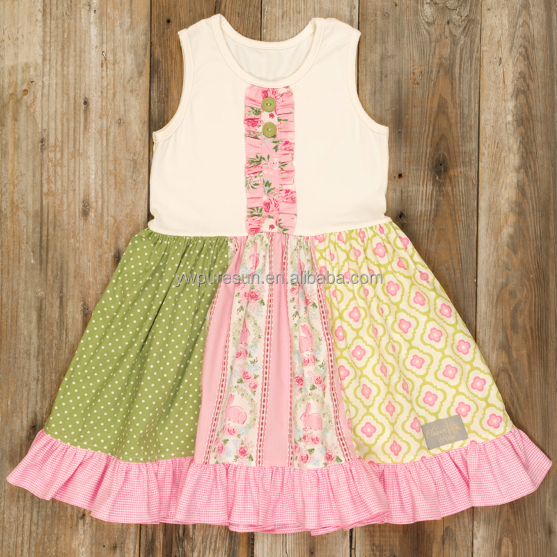 Summer Latest Design Floral printed patchwork tunic dress for little girls