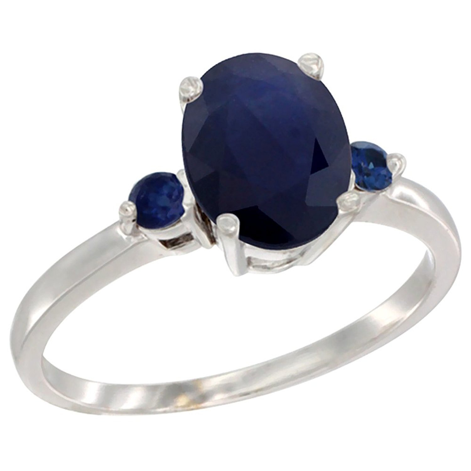 14K White Gold Natural Blue Sapphire Ring Oval 9x7 mm Blue Sapphire Accent, sizes 5 to 10
