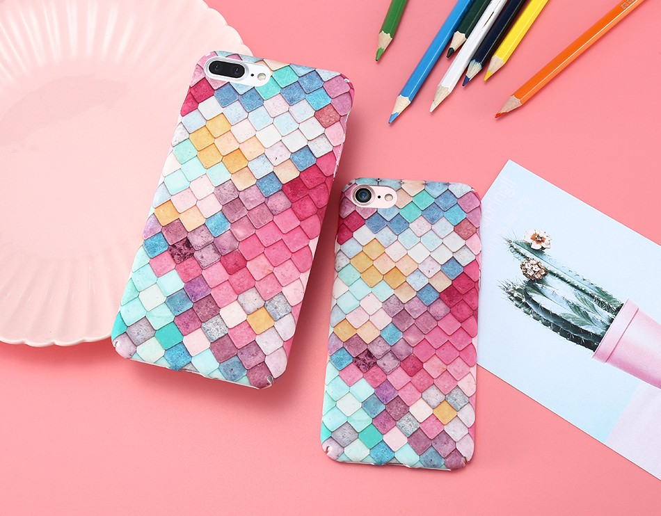 For Iphone 7 6 8 Plus Case Colorful 3D Scales Phone Cases For Iphone XS Max XR Mermaid Cover For Iphone X 5 SE