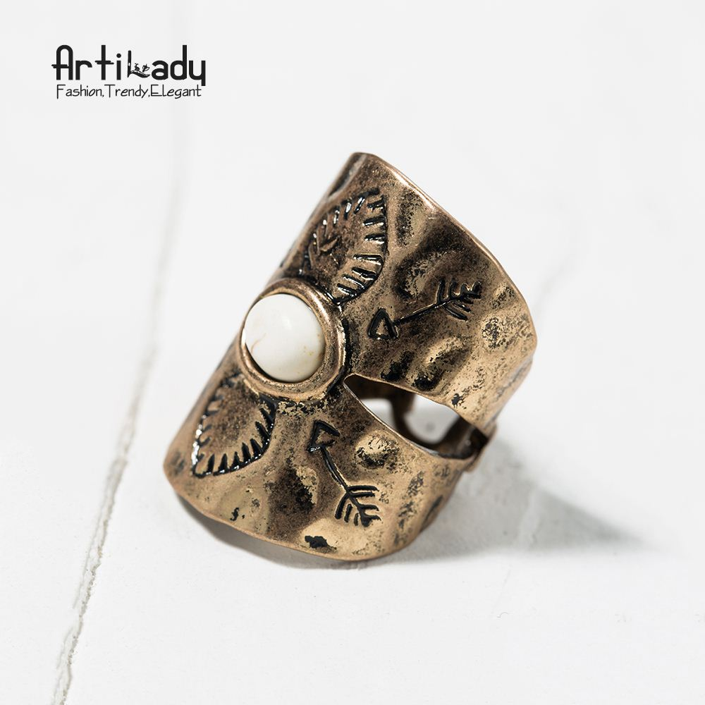 Artilady zinc alloy boho antic silver plated rings vintage white turquoise ring