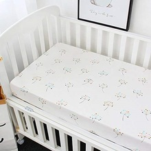 100% organic cotton Jersey knit Baby cot 장 <span class=keywords><strong>침대</strong></span> Sheet, custom printing baby 침구 fitted sheet set