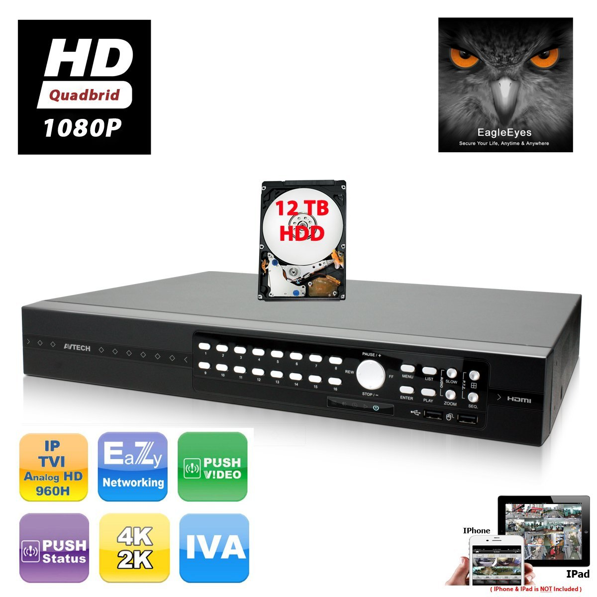 EVERTECH AVTECH H.264 16 Channel HD 1080P Quadbrid TVI + AHD + IP + Analog EagleEyes Push Video Security Digital Video Recorder Cloud Support DVR for CCTV Mobile Phone Access with 12TB