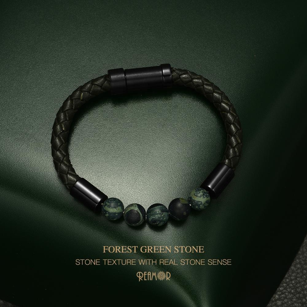 REAMOR Best Quality Retro Unique Design Deep Forest Green Natural Stone Leather Bracelet for Men фото