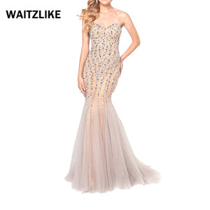 High Quality Elegant Sleeveless sequin dress long dinner beads evening gown mermaid crystal prom gown