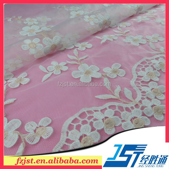 Silk mesh embroidered organza fabric for bridal dress