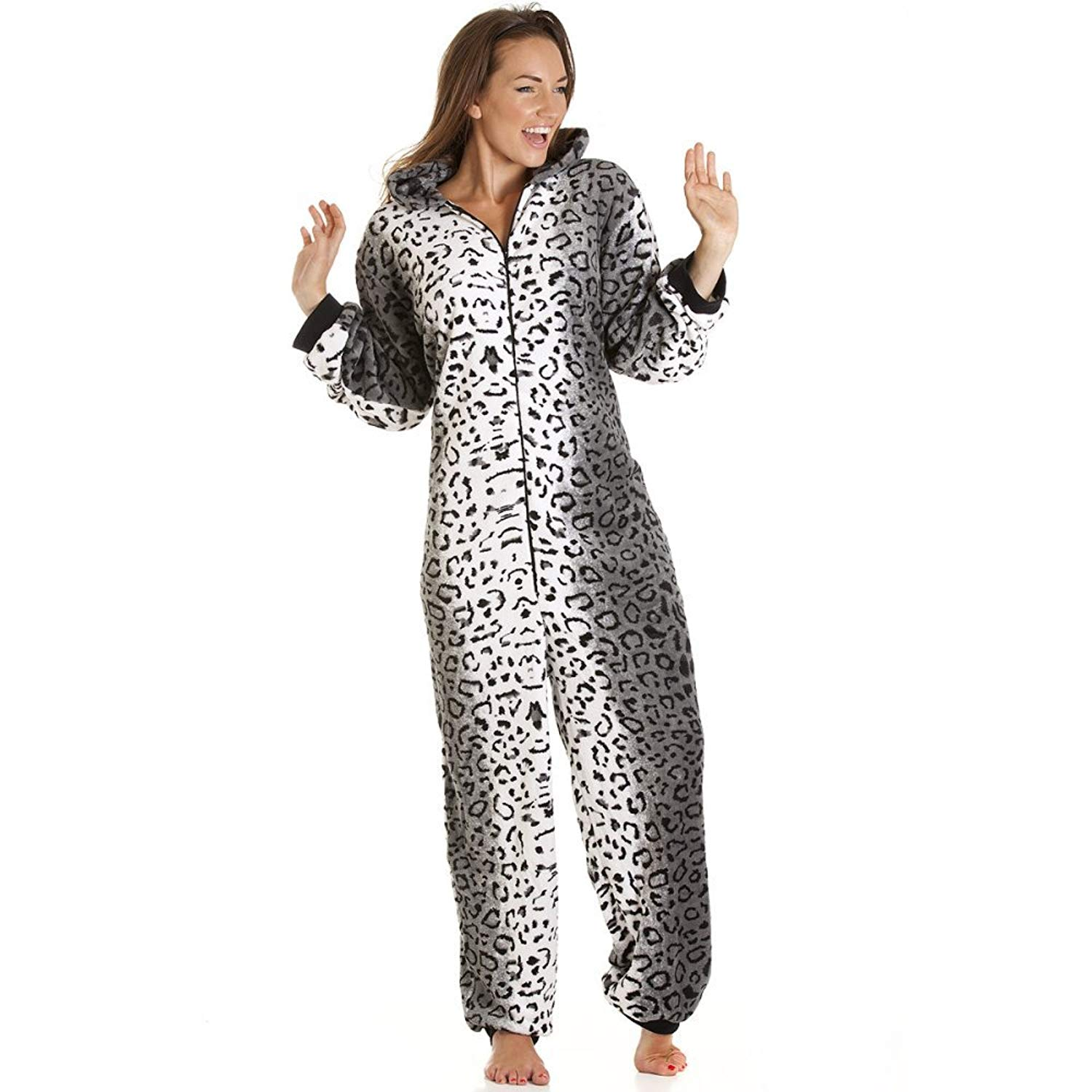 580ba960a3e2a Get Quotations · Camille Womens Ladies Supersoft Luxury Fleece Gray Snow  Leopard Onesie